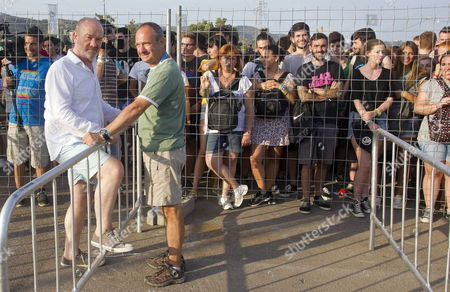 British Producer Vince Power (l) Attends One of the Events of Benicassim International Festival (fib) in Benicassim Castellon Province Eastern Spain 18 July 2013 the Festival Runs From 18 to 21 July Spain Benicassim