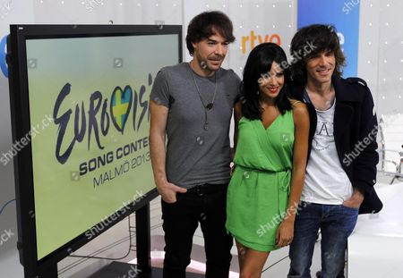Spanish Band 'El Sueño De Morfeo' Members (l-r) David Feito Raquel Del Rosario and Juan Luis Suarez Pose For the Photographers During a Press Conference Held in Madrid Spain 07 May 2013 the Band El Sueno De Morfeo Will Represent Spain During the 58th Edition of the Eurovision Song Contest in Malmoe Sweden Spain Madrid