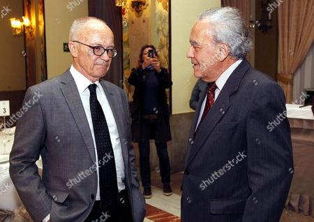 Nobel Awarders Norwegian Finn Kydland (l) (economy 2004) and Swiss Werner Arber (medicine 1978) Talk at Their Arriving to Nobel Forum Dinner in Las Palmas De Gran Canaria Spain on 10 December 2012 Spain Las Palmas De Gran Canaria