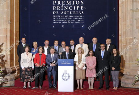 Stock Picture of Prince of Asturias Awards Jury Members Pose For the Family Picture After the Announcement of the Winner of Prince of Asturias Awards in Literature in Oviedo Asturias Northern Spain 06 June 2012 Us Author Philip Roth Has Won the Award Ahead of Japanese Author Haruki Murakami Spain Oviedo