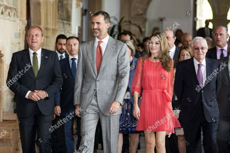 Spanish Crown Prince Felipe (c) and His Wife Princess Letizia (2-r) Arrive at San Francisco Cultural Center Accompanied by Extremadura's Regional President Jose Antonio Monago (l) in Caceres Western Spain 23 July 2013 to Chair a Working Meeting of Board of Directors of Instituto Cervantes Spain Caceres