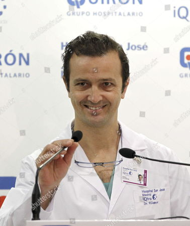 Stock Image of Spanish Traumatologist Angel Villamor Smiles As He Delivers the Medical Report on the Recovery of Spain's King Juan Carlos i at Quiron San Jose Hospital in Madrid Spain 28 November 2012 Villamor Said the King is 'In Optimum Condition For Being Discharged From Hospital' But He Will Stay at Hospital 'Several Days More' to Undergo a Physical Therapy Spain's King Juan Carlos i Had a Hip Replacement Surgery Last 23 November Spain Madrid