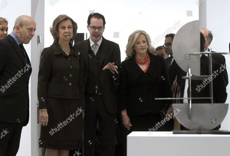 Spanish Queen Sofia (2-l) Spanish Culture Minister Jose Ignacio Wert Ortega (l) and Art Collector Patricia Phelps De Cisneros (r) Attend the Opening of the Exhibition 'The Concrete Invention the Patricia Phelps De Cisneros Collection' at the Reina Sofia Museum in Madrid Spain 22 January 2013 the Exhibition Runs Until 16 September Spain Madrid