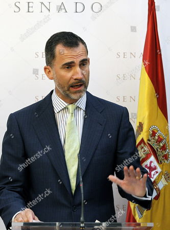 Spain's Crown Prince Felipe Delivers His Speech After Presenting the Luis Carandell Parliamentary Journalism Award to Spanish Journalist Maria Rey During a Ceremony Held at the Upper House of the Spanish Parliament in Madrid Spain 24 July 2013 Spain Madrid