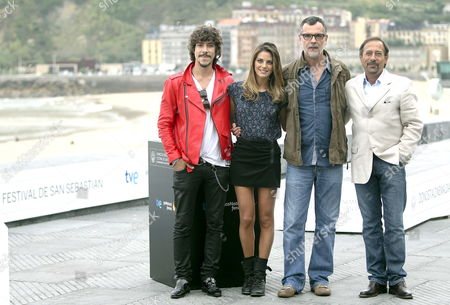 Spanish Filmmaker Eduard Cortes (2-r) Poses For the Media with Spanish Actors Amaia Salamanca Oscar Jaenada (l) and Argentinian Actor Guillermo Francella During the Presentation of the Film '¡atraco!' at the 60th Edition of San Sebastian International Film Festival in San Sebastian Basque Country Northern Spain 28 September 2012 the Festival Runs From 21 to 29 September Spain San Sebastian