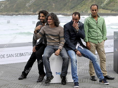 Lebanese Filmmaker Ziad Doueiri (2-l) Poses with Actors Ali Suliman (2-r) Ramzi Maqdisi (r) and Karim Saleh on the Occasion of the Presentation of His Movie 'The Attack' During the 60th Sebastian International Film Festival in San Sebastian Spain 25 September 2012 the Festival Runs From 21 to 29 September Spain San Sebastian