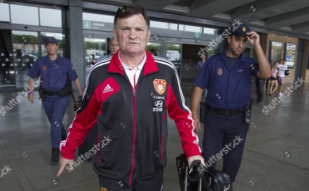 Chinese National Soccer Team Coach Spanish Jose Antonio Camacho Arrives at Santa Justa Train Station in Seville Spain 31 May 2012 China Will Face Spain in a Friendly Soccer Match the Upcoming 03 June at La Cartuja Stadium Spain Sevilla