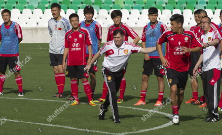 Chinese National Soccer Team Coach Spanish Jose Antonio Camacho (c) Gives Instructions to His Players During a Training Session Held at Benito Villamarin Stadium in Seville Spain 31 May 2012 China Will Face Spain in a Friendly Soccer Match the Upcoming 03 June at La Cartuja Stadium in Seville Spain Seville