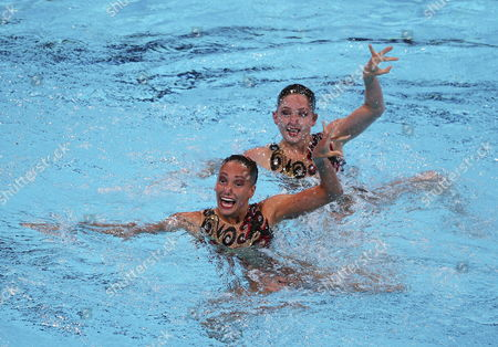 Olivia Federici and Jenna Randall of the Uk Compete in the Synchronised Swimming's Duet Technical Routine As Part of 15th Fina World Championships at Palau Sant Jordi Pavilion in Barcelona North-eastern Spain 21 July 2013 Spain Barcelona