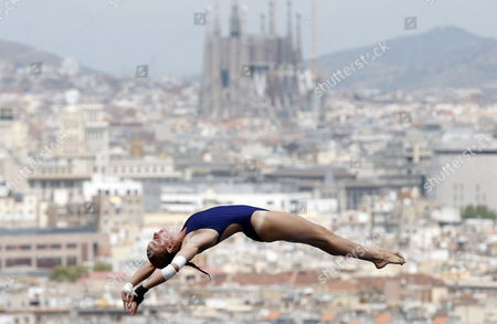 French Diver Laura Marino in Action During the Women's 10-meter Springboard Diving Semifinal at the 15th Fina Swimming World Championships at the Montjuic Local Swimming Pool in Barcelona Northeastern Spain 24 July 2013 Spain Barcelona
