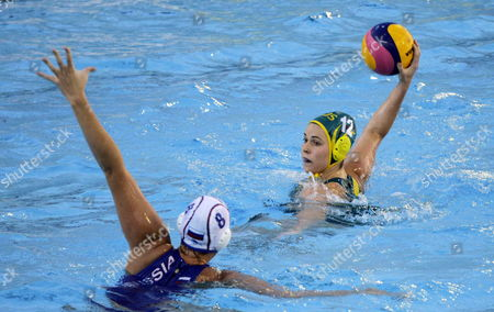 Nicola Zagame (r) of Australia in Action Against Anna Grineva (l) of Russia During Their Water Polo Women's Semi Final Match at the 15th Fina World Championships in Barcelona North-eastern Spain 31 July 2013 Spain Barcelona