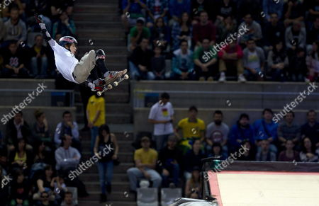 Us Skater Tom Schaar Competes in the Xgames Big Air Skate Event Held in Barcelona Spain 17 May 2013 Spain Barcelona