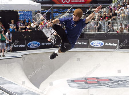 Brazilian Skater Pedro Barros in Action During the Skate Board Park Final of the Xgames in Barcelona North-eastern Spain 19 May 2013 Barros Won the Gold Medal Spain Barcelona