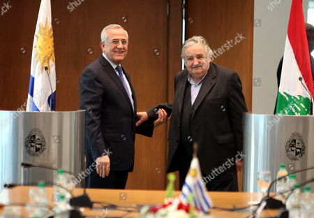 The President of Lebanon Michel Sleiman (l) and His Uruguayan Counterpart Jose Mujica Pose to the Press After a Meeting in Montevideo Uruguay 05 October 2012 Uruguay Montevideo