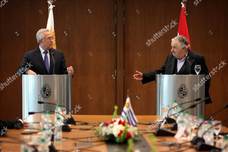 The President of Lebanon Michel Sleiman (l) and His Uruguayan Counterpart Jose Mujica Speak to the Press After a Meeting in Montevideo Uruguay 05 October 2012 Uruguay Montevideo