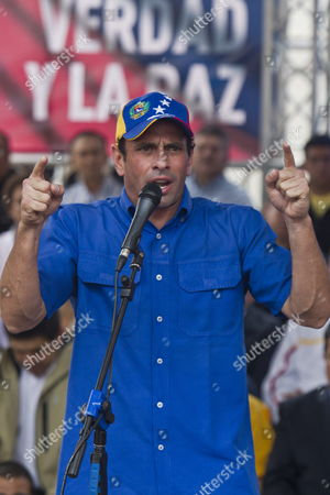 Venezuelan Opposition Leader Henrique Capriles Radonski Speaks During an Event Accompanied by Members of Venezuelan National Assembly in Caracas Venezuela 03 May 2013 Capriles and Deputies Promote a Referendum to Revoke Venezuela's Presidential Elections Capriles Called His Supporters not to Be Tired in the Struggle For the Truth About the 14 April Elections He Announces He Opposes the Entire Process How Official Candidate Nicolas Maduro was Elected Venezuela Caracas
