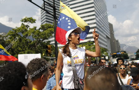 Thousands of Supporters of Venezuelan Presidential Opposition Candidate Henrique Capriles Radonski Protest Against the Elections Results in Caracas Venezuela 15 April 2013 Capriles Called His Supporters to Demonstrate Against the Proclamation of Nicolas Maduro As Winner of the Presidential Elections and Asked Again For the Votes to Be Recount Venezuela Caracas