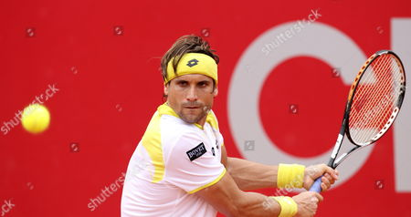 Spaniard David Ferrer Returns to Argentinian Agustin Velotti During Their First Round Match of the Copa Claro Tennis Tournament in Buenos Aires Argentina 20 February 2013 Argentina Buenos Aires