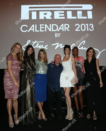 (l-r) Czech Model Petra Nemcova Us Models Summer Rayne Oakes and Kyleigh Kuhn; Us Photographer Steve Mccurry Turkish Model Hanaa Ben Abdesslem; Ethiopian Liya Kebede and Egyptian Elisa Sednaoui Pose For the Press During the Official Presentation of the 2013 Pirelli Calendar at Copacabana Hotel in Rio De Janeiro Brazil 27 November 2012 This Year the Calendar Unusually Features Clothed Models and Even Shots Highlighting the Culture of the Country Brazil Rio De Janeiro