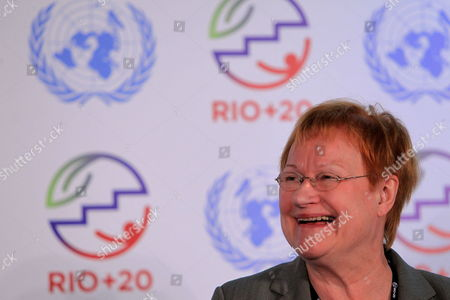 Finish Former President Tarja Halonen Smiles During a Press Conference in the Frame of the Un Conference Rio+20 in Rio De Janeiro Brazil 18 June 2012 Brazil Rio De Janeiro