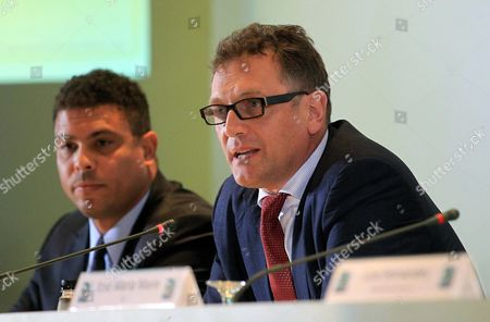 Fifa General Secretary Jerome Valcke (r) Speaks Next to Former Brazilian Soccer Player Ronaldo Luis Nazario De Lima During a Press Conference For the Unveiling of the Fifa World Cup Brazil 2014 Poster in Rio De Janeiro Brazil 30 January 2013 Brazil Rio De Janeiro