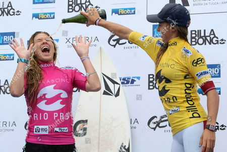 Australian Surfer Sally Fitzgibbons (r) Celebrates After Winning the Surfing Asp Billabong Rio Pro Competition with Hawaian Coco Ho (l) in Second Place at Barra Da Tijuca Beach in Rio De Janeiro Brazil on 13 May 2012 Brazil Rio De Janeiro