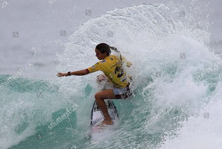 Australian Surfer Sally Fitzgibbons in Action During the Surfing Asp Billabong Rio Pro Competition in Barra Da Tijuca Beach in Rio De Janeiro Brazil on 13 May 2012 Brazil Rio De Janeiro