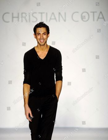 Mexican Designer Christian Cota Takes to the Catwalk at the End of the Presentation of His Collection During the Colombiamoda 2012 Fashion Fair in Medellin Colombia 26 July 2012 the Fair Took Place From 24 to 26 July Colombia Medellin