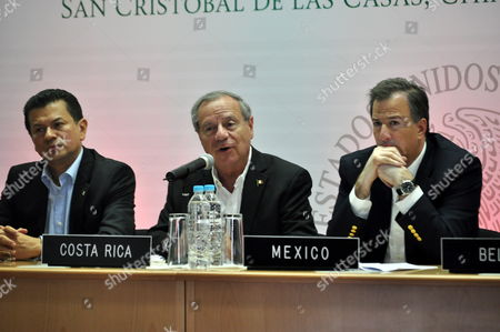 (l-r) Foreign Ministers Hugo Roger Martinez (l) From El Salvador; Enrique Castillo Barrantes (c) From Costa Rica and Jose Antonio Meade (r) From Mexico Address a Press Conference During a Region's Chancellors Meeting in San Cristobal De Las Casas Chiapas State Mexico 21 June 2013 Foreign Ministers of Central America Mexico Colombia and the Dominican Republic Take Part in This Meeting Aimed at Integration not Only in Economic But Also in Other Factors Mexico San Cristobal De Las Casas
