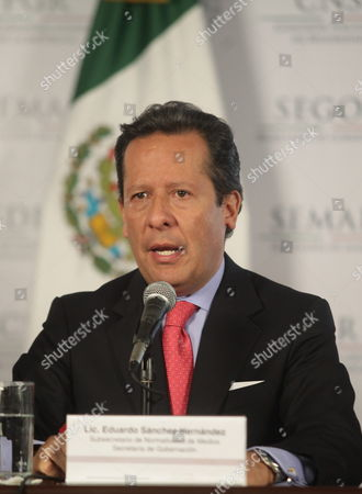Under-secretary of the Mexican Interior Ministry Eduardo Sanchez Hernandez Adresses a Press Conference in Mexico City Mexico 30 April 2013 Sanchez Hernandez Announced the Detention of Ines Coronel Barreras Father in Law of Mexican Capo Joaquin 'El Chapo' Guzman During an Operation Early Morning Mexico Mexico City