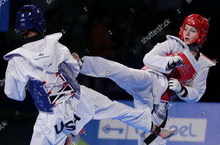 Us Diana Lopez (l) Fights Against Swiss Nina Klaey (r) in the Women's -62 Kilograms Category During the Last Day of the Taekwondo World Championship Held in Puebla Mexico 21 July 2013 Mexico Puebla