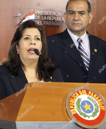 Paraguayan Defense Minister Maria Liz Garcia Talks During a Press Conference in Asuncion Paraguay on 03 July 2012 Rganization of American States Secretary-general Jose Miguel Insulza Launched a Fact-finding Mission 02 July in Paraguay Meeting with Ousted President Fernando Lugo and His Former Vice President and Successor Federico Franco Lugo was Removed From Office by the Paraguayan Congress on June 22 After a One-day Impeachment Process Franco was Immediately Sworn in As President Paraguay Asuncion