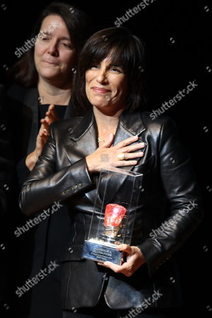 Stock Image of Brazilian Actress Gloria Pires Receives the Spondylus Award For Her Lifelong Achievements at the Closing Ceremony of the 17th Lima Film Festival at the Great National Theatre in Lima Peru 17 August 2013 Peru Lima