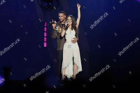 Puerto Rican Singer Don Omar (l) and Dominican Natti Natasha (r) Perform on Stage During the Concert 'Made in Puerto Rico' After Five Years of Absence on the Island in San Juan Puerto Rico 03 May 2013 Puerto Rico San Juan