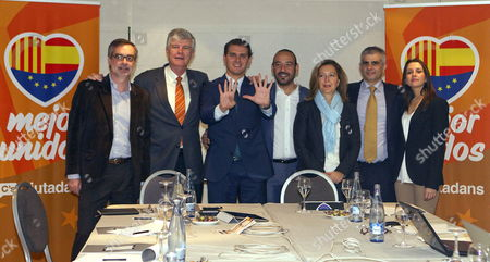 Catalonian Ciutadans Party Presidential Candidate Albert Rivera (3-l) Poses Next to Jose Manuel Villegas Matias Alonso Ruiz Jordi Canas Carina Mejias Carlos Carrizosa and Ines Arrimadas During the Executive Committee Meeting Held to Analyse the Results of Catalonian Regional Election in Barcelona Northeastern Spain 26 November 2012 Spain Barcelona