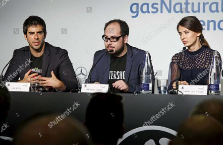 Stock Image of Us Producer and Actor Eli Roth (l) Chilean Director Nicolas Lopez (c) and Spanish Actress Natasha Yarovenko (r) During the Presentation of the Film 'Aftershock' on the Ocassion of 45th Sitges International Fantastic Film Festival Held in Sitges Catalonia Eastern Spain 06 October 2012 the Festival Runs From 04 to 14 Ocotber 2012 Spain Sitges