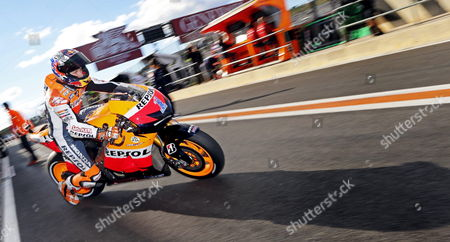 Australian Motogp Rider Casey Stoner of the Repsol Honda Team in Action During the Qualifying Practice Session of the Valencia Motorcycling Grand Prix at the Ricardo Tormo Racetrack in Valencia Eastern Spain 10 November 2012 the Final Race of the 2012 World Championship Will Be Held on 11 November 2012 Spain Valencia