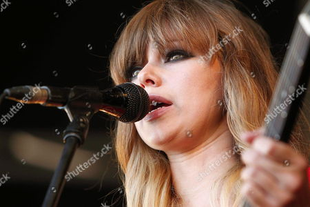Lead Singer of Us Band Chromatics Ruth Radelet (r) Performs on Stage During Their Concert As Part of Sonar Music Festival in Barcelona Northeastern Spain 15 June 2013 Spain Barcelona