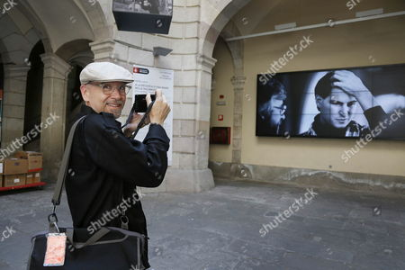 Stock Picture of Us Photographer Doug Menuez Poses For the Media During the Presentation of His Exhibition 'Doug Menuez: Fearless Genius the Digital Revolution in Silicon Valley 1985-2000' at Palau De La Virreina in Barcelona Northeastern Spain 16 July 2013 the Show Runs Until 24 September Spain Barcelona