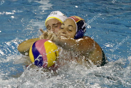 Maria Garcia Godoy (r) of Spain in Action Against Holly Lincoln-smith (l) of Australia During Their Water Polo Women's Final Match of the 15th Fina World Championships at Picornell Swimming Pool in Barcelona North-eastern Spain 02 August 2013 Spain Barcelona