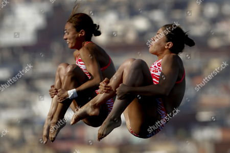 Mexican Divers Paola Espinosa and Alejandra Orozco Compete at Women's 10-meter Synchro Platform Diving Final As Part of the 15th Fina Swimming World Championships at the Montjuic Local Swimming Pool in Barcelona Northeastern Spain 22 July 2013 Spain Barcelona