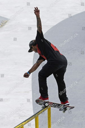 Puerto Rican Skater Manny Santiago Competes in the Street League Skateboarding Final of the Xgames in Barcelona North-eastern Spain 18 May 2013 Spain Barcelona