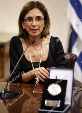 Spanish Journalist and Translator Pilar Del Rio Widow of the Nobel Literature Prize Winner Portuguese Jose Saramago Speaks During the Ceremony During Which She Received the Award For Distinguished Visitor of Montevideo For Continuing the Legacy of Jose Saramago in Montevideo Uruguay 21 August 2013 Uruguay Montevideo