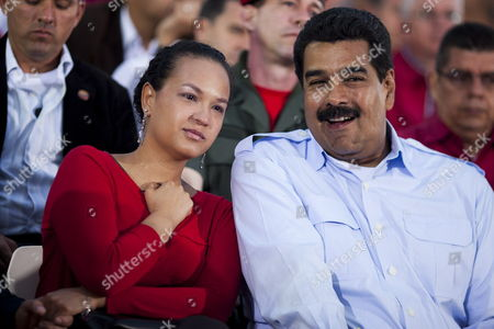 Stock Picture of Venezuelan President Nicolas Maduro Next to Rosa Virginia Chavez (l) Daughter of Late Venezuelan President Hugo Chavez Attend a Commemoration Event in Honor of Chavez who Would Have Turned 59 on This Day in Caracas Venezuela 28 July 2013 Venezuela Caracas