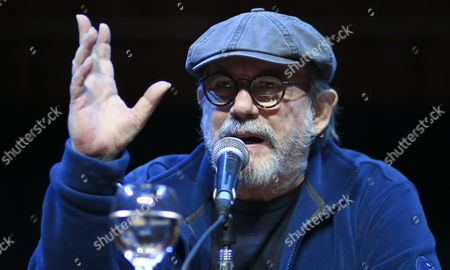 Cuban Singer and Song-writer Silvio Rodriguez Participates at the Presentation of Book 'For All This Space For All This Time with Silvio Rodriguez in Havana's Neighborhoods' by Cuban Journalist Monica Rivero at the Nestor Kirchner Cultural Center in Buenos Aires Argentina 26 May 2015 Argentina Buenos Aires