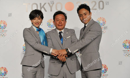 Japanese Tv Anchor Christel Takigawa (l) Tokyo's Governor Naoki Inose (c) and Japanese Foil Fencer Yuki Ota (r) Pose During an Event to Support Tokyo's Candidacy to Be the Host City of the Summer Olympics 2020 in Buenos Aires Argentina 06 September 2013 the International Olympic Committee (ioc) Will Elect the Host City For the 2020 Olympic Games During the 125th Ioc Session Argentina Buenos Aires