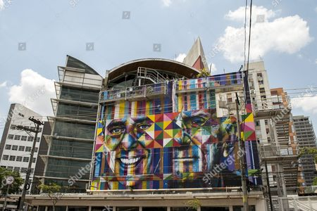 A Picture Made Available on 04 November 2014 Shows a Graffiti by Brazilian Street Artist Eduardo Kobra in Sao Paulo Brazil 31 October 2014 the Mural is Dedicated to Brazilian Musician Chico Buarque (l) and Late Brazilian Writer Ariano Suassuna Brazil Sao Paulo