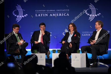 (l-r) President of the Inter-american Development Bank (idb) Luis Alberto Moreno President of Pactual Bank Andre Esteves Executive Chief of Omnilife Group and Angelissima Angelica Fuentes and Nike's President and Ceo Mark Parker Participate in the Session 'Mobilization For the Future' of the Clinton Global Initiative For Latin America in Rio De Janeiro Brazil 10 December 2013 Political Business and Civil Leaders From the Region Participated in the Event Brazil Rio De Janeiro