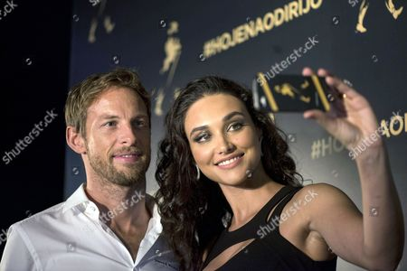 British Formula One Driver Jenson Button of Mclaren (l) and Brazilian Actress Debora Nascimento (r) Take a Slefie During an Event Encouraging the Use of Taxis After Drinking Alcohol in Sao Paulo Brazil 06 November 2014 Brazil Sao Paulo