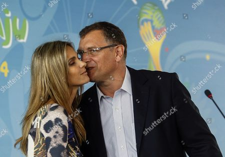 Fifa Secretary General Jerome Valcke (r) and Brazilian Model Fernanda Lima (l) Take Part During the Launch of the 'Football For Hope 2014' Tournament in Rio De Janeiro Brazil 20 May 2014 the 'Football For Hope 2014' Tournament Will Be Played From 07 and 10 July 2014 As Part of the Fifa World Cup 2014 in Brazil Brazil Rio De Janeiro